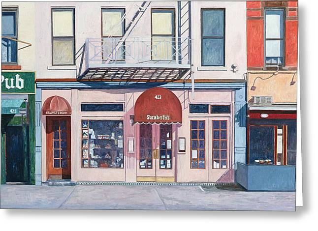 New York City Fire Escapes Greeting Cards - Sarabeths Greeting Card by Anthony Butera
