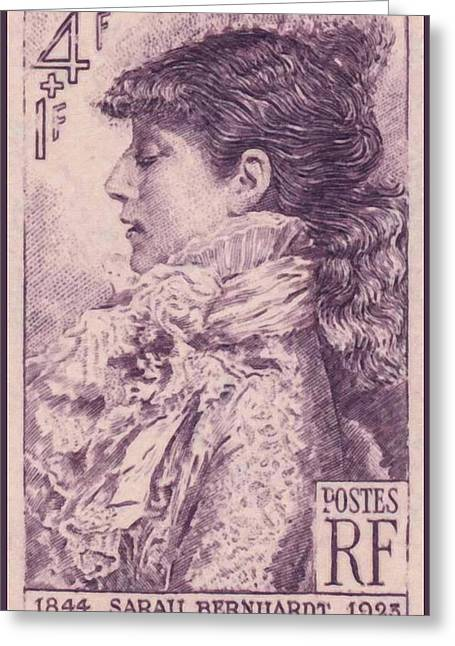 1945 Movies Greeting Cards - Sarah Bernhardt 1844-1923 Stamp Greeting Card by Lanjee Chee