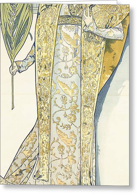 Dress Patterns Greeting Cards - Sarah Bernhardt Greeting Card by Alphonse Marie Mucha