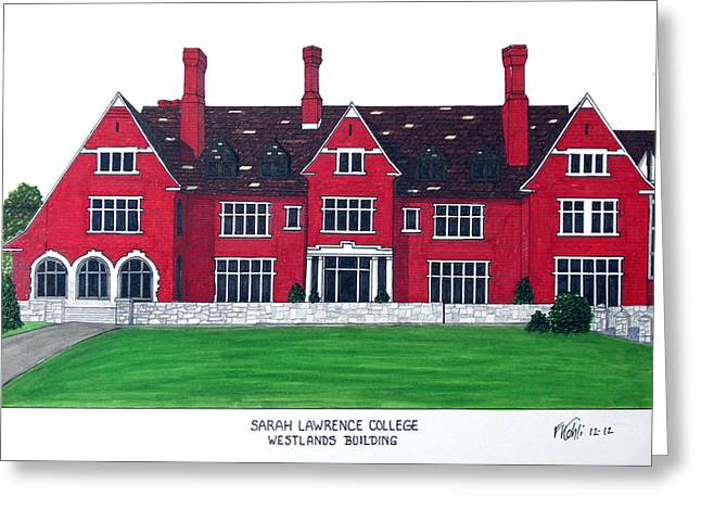 Pen And Ink Framed Prints Greeting Cards - Sarah Lawrence College Greeting Card by Frederic Kohli