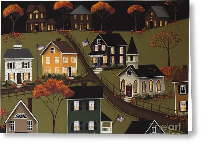 Autumn Folk Art Greeting Cards - Sarahs Diner Greeting Card by Catherine Holman