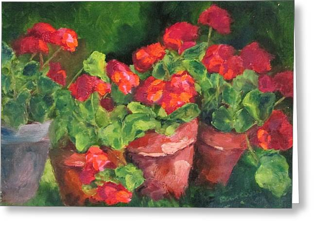 Shed Paintings Greeting Cards - Sarahs Geraniums Greeting Card by Susan Richardson