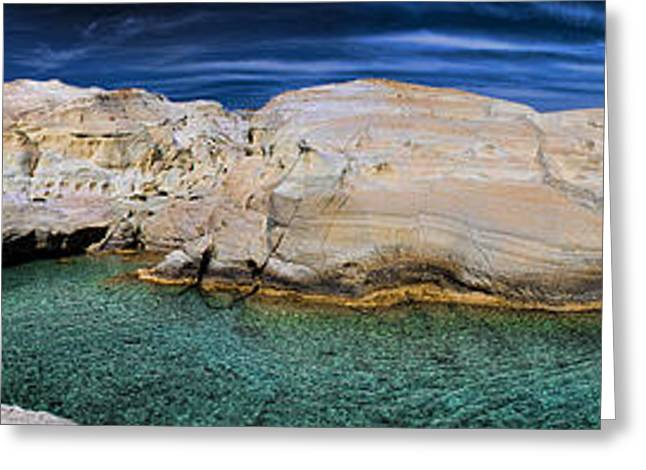 Idyllic Greeting Cards - Sarakiniko Beach in Milos Island Greece Greeting Card by David Smith