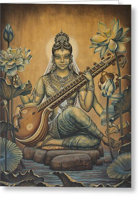Stones Greeting Cards - Sarasvati Shakti Greeting Card by Vrindavan Das