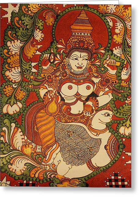 Kerala Murals Greeting Cards - Saraswathi Goddess of Knowledge and Arts Greeting Card by Anu Edasseri