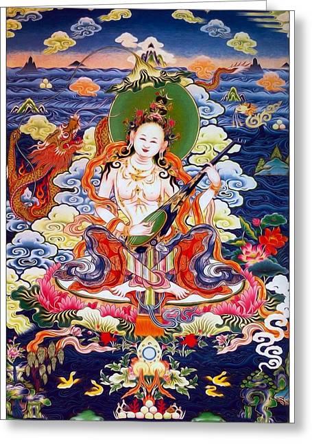 Full Of Wisdom Greeting Cards - Saraswati 12 Greeting Card by Lanjee Chee