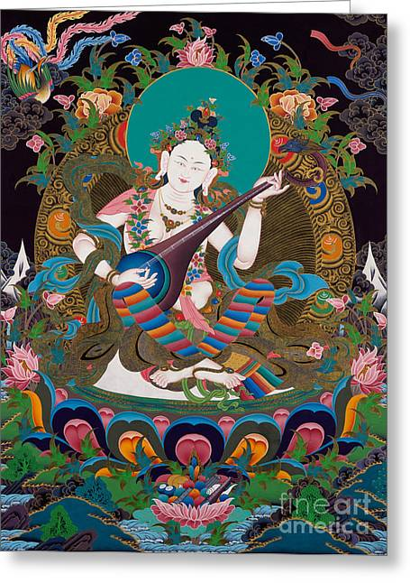 Full Of Wisdom Greeting Cards - Saraswati 15 Greeting Card by Lanjee Chee