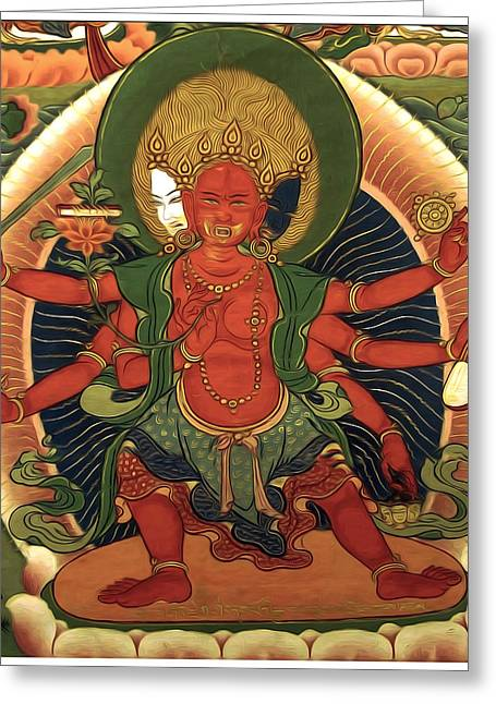 Full Of Wisdom Greeting Cards - Saraswati 7 Greeting Card by Lanjee Chee