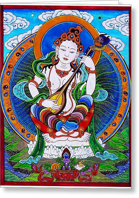 Full Of Wisdom Greeting Cards - Saraswati 9 Greeting Card by Lanjee Chee