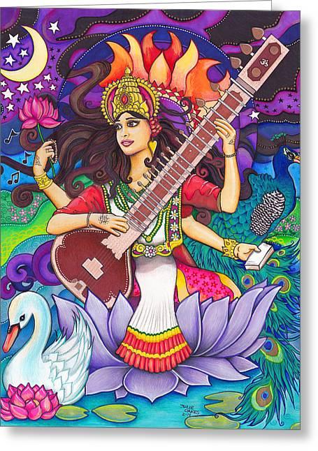Hindu Goddess Mixed Media Greeting Cards - Saraswati Greeting Card by Julie Oakes