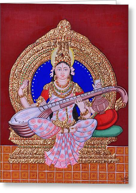 Hindu Goddess Paintings Greeting Cards - Saraswati Greeting Card by Pratyasha Nithin
