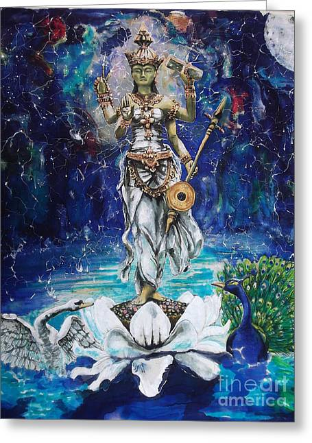 Saw Greeting Cards - Saraswati Greeting Card by Tilly Campbell-Allen