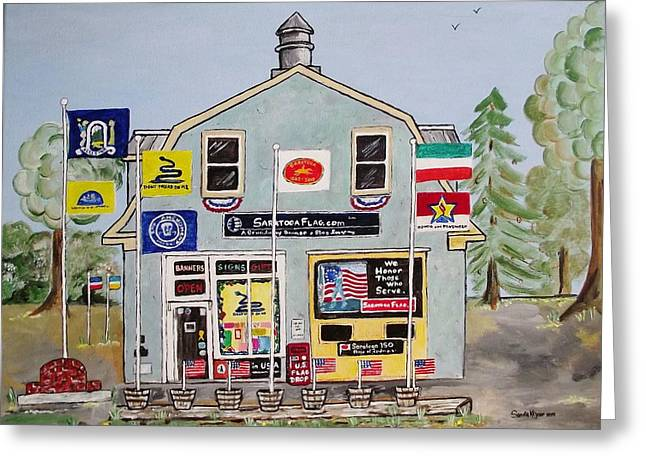 Hardware Paintings Greeting Cards - Saratoga Flag Company Greeting Card by Sandie Keyser