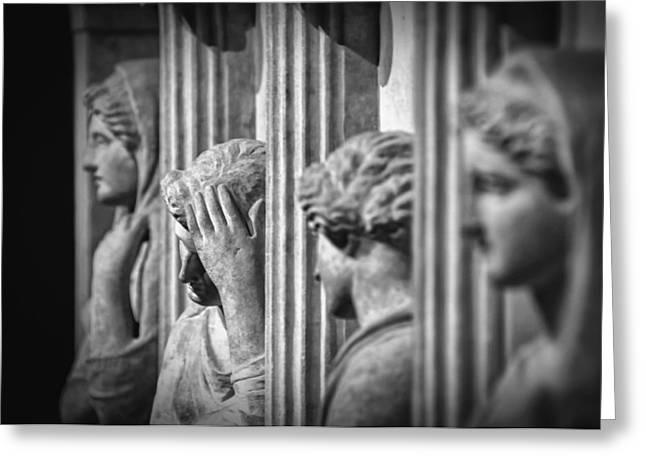 Greek Sculpture Greeting Cards - Sarcophagus of the Crying Women II Greeting Card by Taylan Soyturk
