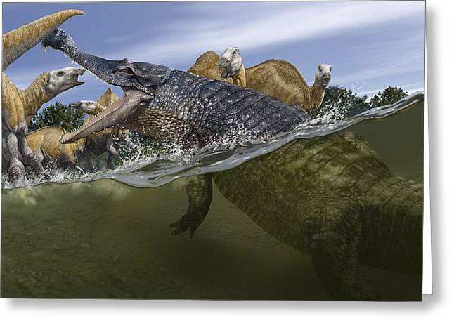 Record Breaker Greeting Cards - Sarcosuchus, artwork Greeting Card by Science Photo Library