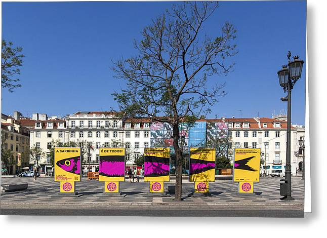 Town Square Greeting Cards - Sardine outdoor at Pedro IV Square best known as Rossio Square Greeting Card by Andre Goncalves
