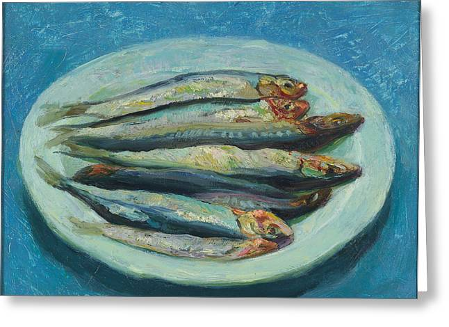 Recently Sold -  - Still Life With Fish Greeting Cards - Sardines On A White Plate Greeting Card by Ben Rikken