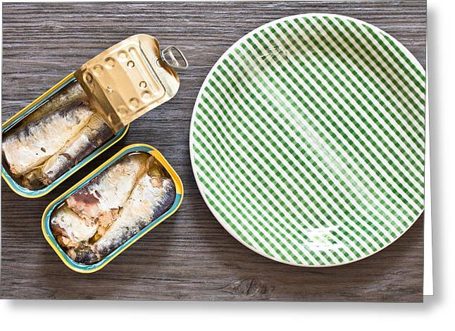 Wooden Fish Greeting Cards - Sardines Greeting Card by Tom Gowanlock