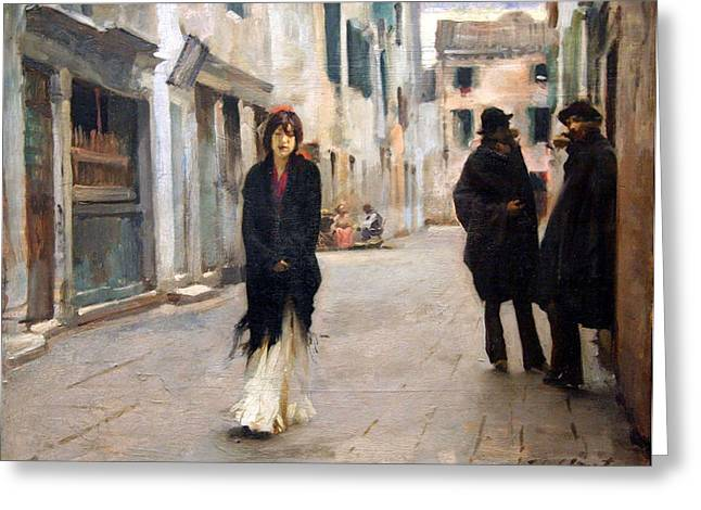 Cora Wandel Greeting Cards - Sargents Street In Venice Greeting Card by Cora Wandel