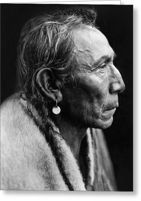 Native American Portraits Photographs Greeting Cards - Sarsi Indian Man circa 1927 Greeting Card by Aged Pixel