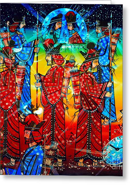 Ancient Persian Art Greeting Cards - Sasanian Kings Greeting Card by Dariush Alipanah- Jahroudi
