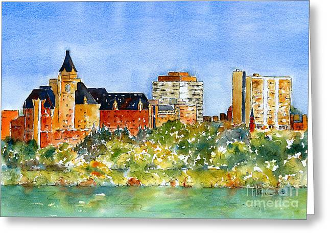Watercolour Paintings Greeting Cards - Saskatoon Panorama Greeting Card by Pat Katz