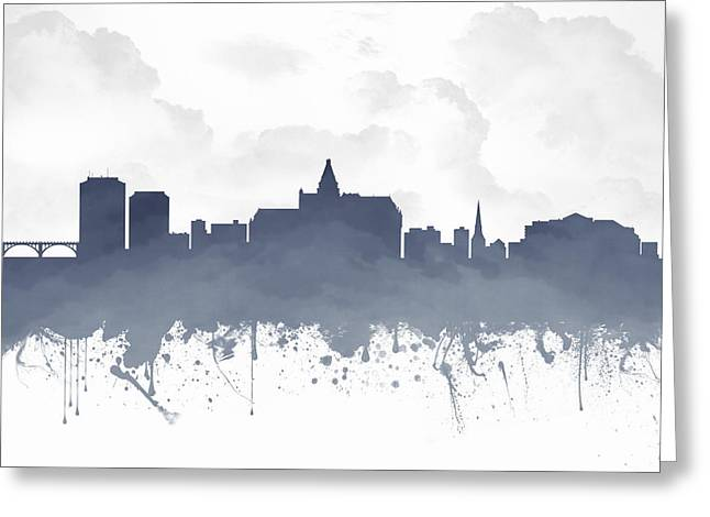 Town Mixed Media Greeting Cards - Saskatoon Saskatchewan Skyline - Blue 03 Greeting Card by Aged Pixel