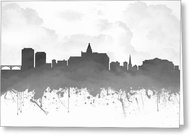 Town Mixed Media Greeting Cards - Saskatoon Saskatchewan Skyline - Gray 03 Greeting Card by Aged Pixel