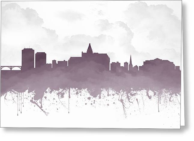 Town Mixed Media Greeting Cards - Saskatoon Saskatchewan Skyline - Purple 03 Greeting Card by Aged Pixel
