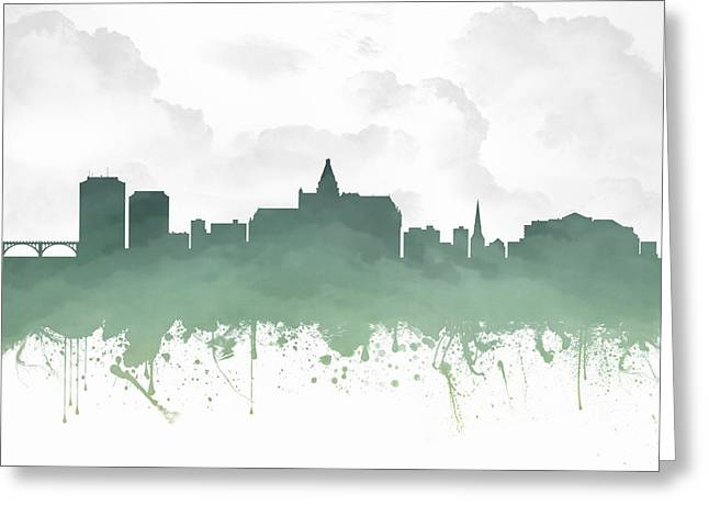 Town Mixed Media Greeting Cards - Saskatoon Saskatchewan Skyline - Teal 03 Greeting Card by Aged Pixel