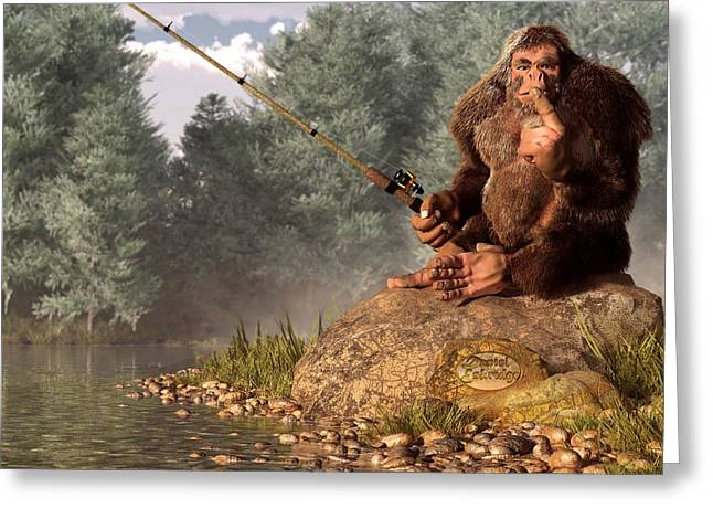 Yeti Greeting Cards - Sasquatch Goes Fishing Greeting Card by Daniel Eskridge