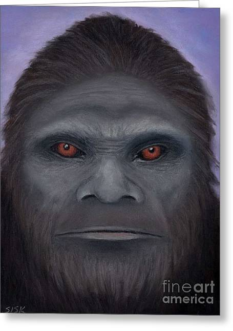 Jeff Pastels Greeting Cards - Sasquatch The Encounter Greeting Card by Rebekah Sisk