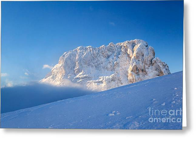 Italian Sunset Greeting Cards - Sassolungo mountain peak in winter - Dolomites - Italy Greeting Card by Matteo Colombo