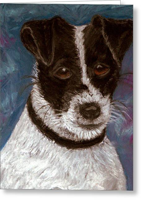Puppies Pastels Greeting Cards - Sassy 2 Pastel Greeting Card by Antonia Citrino