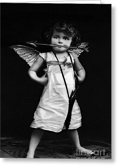 Spunky Greeting Cards - Sassy Cupid BW Greeting Card by Lesa Fine