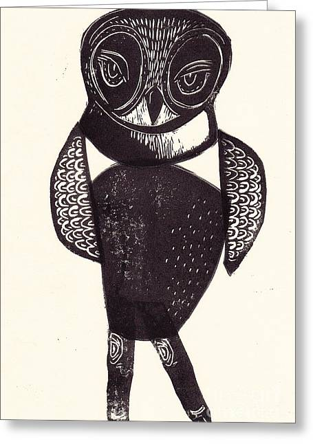 Block Print Art Mixed Media Greeting Cards - Sassy Owl Greeting Card by Coralette Damme