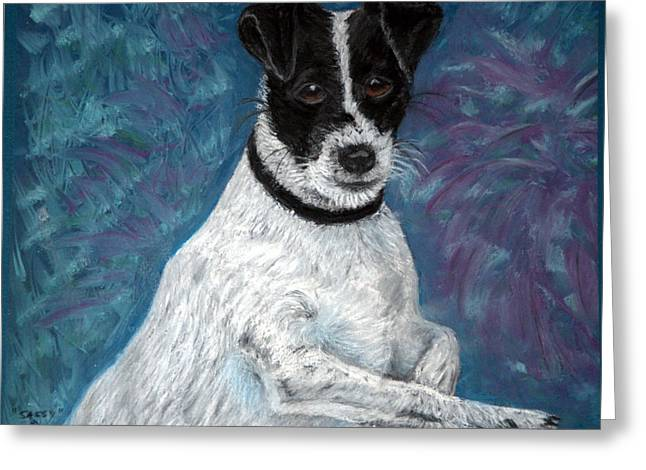 Terrier Pastels Greeting Cards - Sassy Pastel Greeting Card by Antonia Citrino