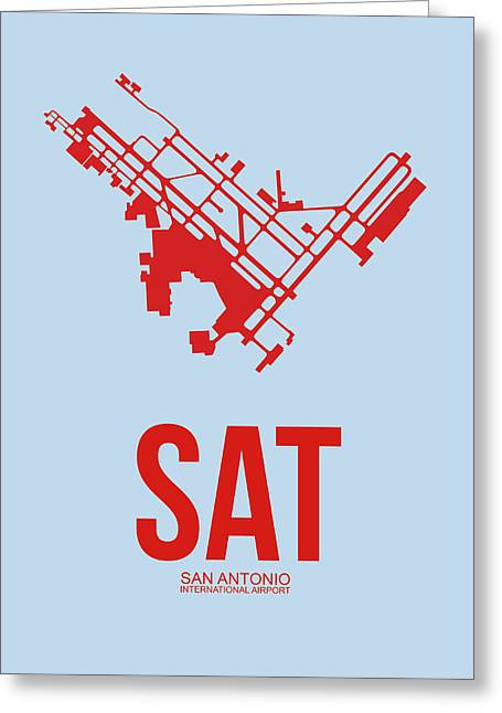 San Antonio Greeting Cards - SAT San Antonio Airport Poster 1 Greeting Card by Naxart Studio