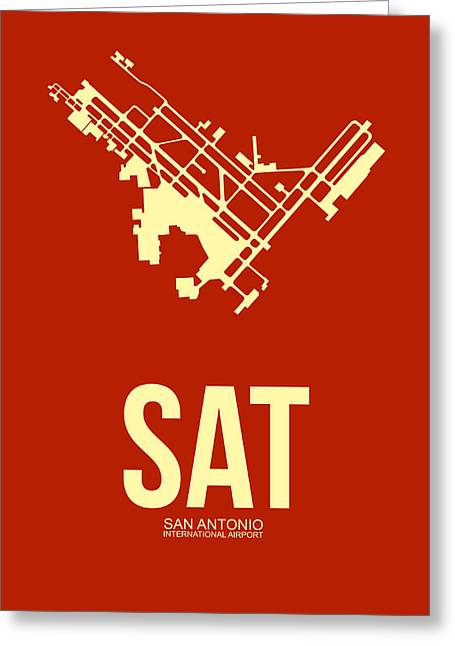San Antonio Greeting Cards - SAT San Antonio Airport Poster 2 Greeting Card by Naxart Studio