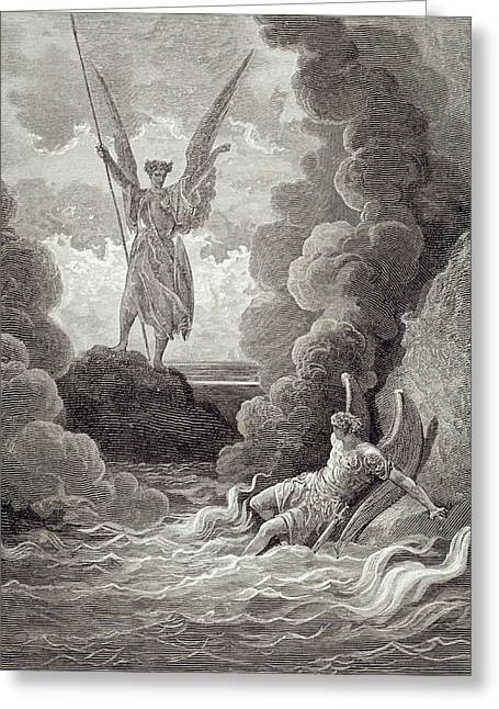 Grey Clouds Greeting Cards - Satan and Beelzebub Greeting Card by Gustave Dore