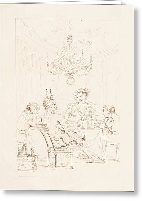 Table And Chairs Drawings Greeting Cards - Satan and Three Men at a Table Greeting Card by Auguste Hervieu