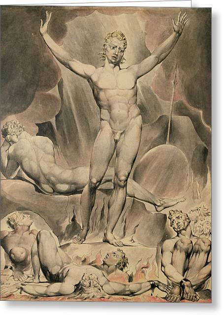 Satan Arousing The Rebel Angels, 1808 Greeting Card by William Blake