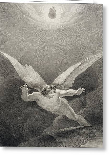 Flying Angel Greeting Cards - Satan Leaps Over The Walls Of Heaven Greeting Card by Richard Edmond Flatters