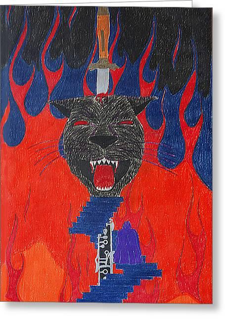 Satan's Panther Greeting Card by Melanie Schneider
