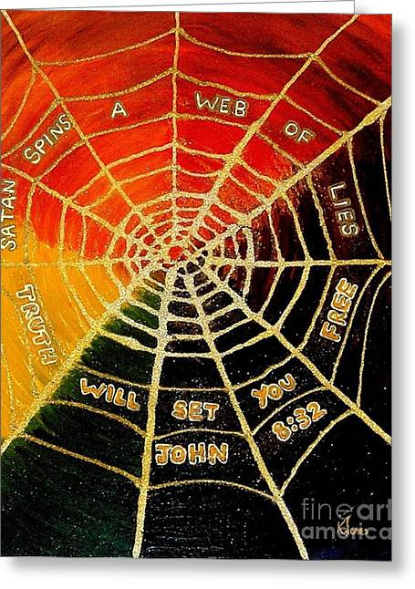 Anti Greeting Cards - Satans Web of Lies Greeting Card by Karen J Jones