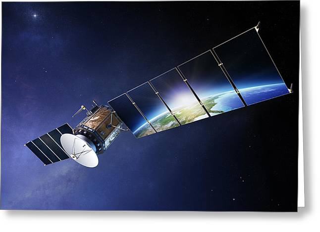 Technology Greeting Cards - Satellite communications with earth Greeting Card by Johan Swanepoel