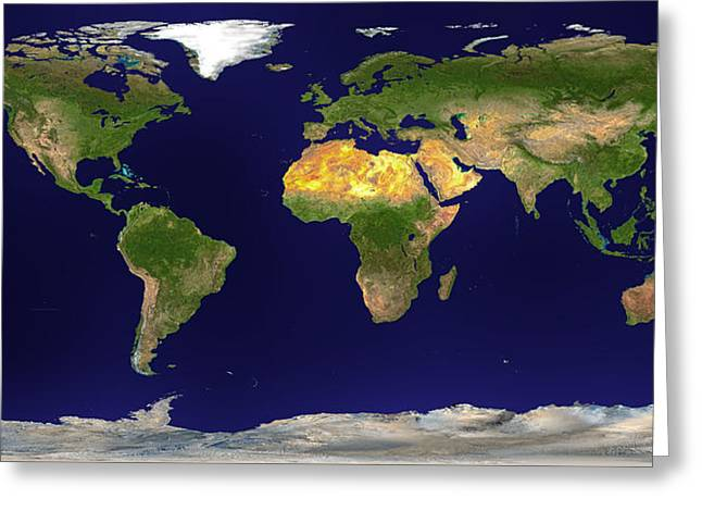 Satellite Image Greeting Cards - Satellite Image of Earth Greeting Card by Mountain Dreams