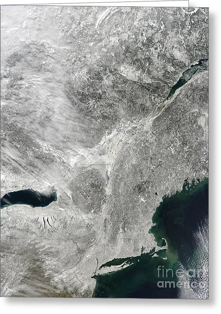 Snowmageddon Greeting Cards - Satellite View Of A Large Noreaster Greeting Card by Stocktrek Images