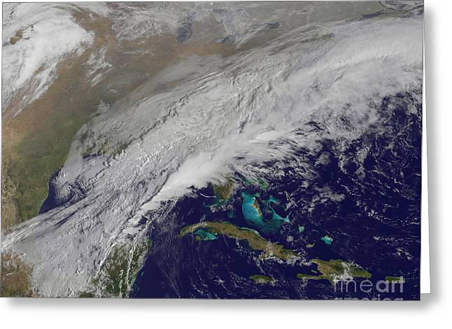 Snowstorm Greeting Cards - Satellite View Of A Winter Snowstorm Greeting Card by Stocktrek Images