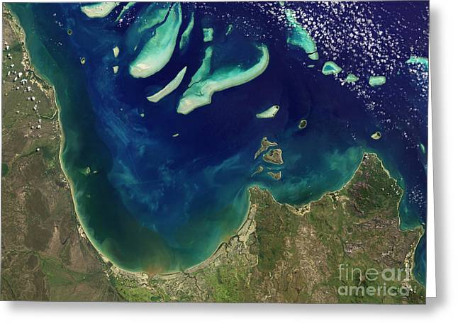 Charlotte Greeting Cards - Satellite View Of Princess Charlotte Greeting Card by Stocktrek Images